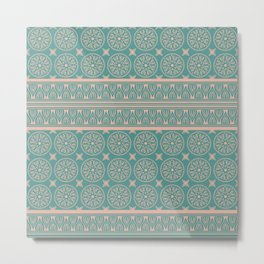 African Ethnic Tribal Blue Green Faded Pink Metal Print