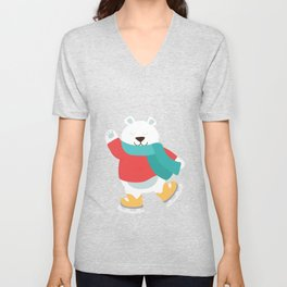 Polar Bear Go Skiing for Merry Christmas Unisex V-Neck