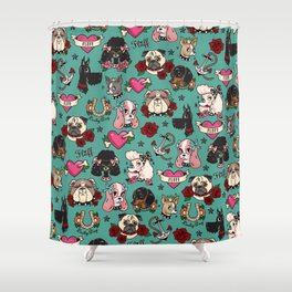 Tattoo Dogs Shower Curtain