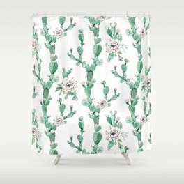 Cactus Rose Climb on White Shower Curtain