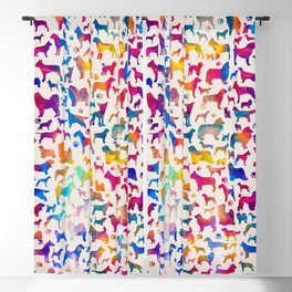 Fun Colorful Dog breeds Silhouettes Pattern Blackout Curtain