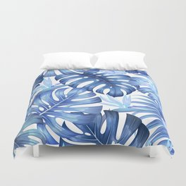 Blue tropical pattern  (monstera leaves and bird of paradise flowers Duvet Cover