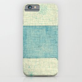 Iowa State Map Blue Vintage iPhone Case
