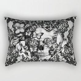 Rose skull on black lace base. Rectangular Pillow