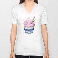 cupcake V-neck T-shirts featuring Cupcake by Olechka