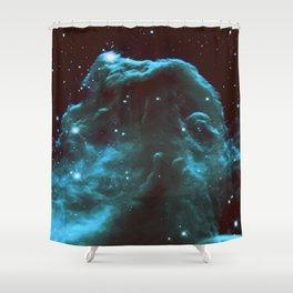 GalaXY Deep Teal Horsehead Nebula Shower Curtain