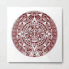 Mayan Calendar // Burgundy Metal Print