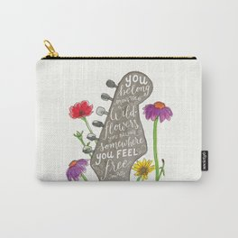 You belong among the wildflowers. Tom Petty quote. Watercolor guitar illustration. Hand lettering. Carry-All Pouch