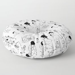 Retro 50's Family Pattern Floor Pillow