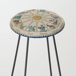 Vintage Astrology Zodiac Wheel Counter Stool