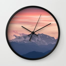 Pink And Blue Pastel Mountains Sky Landscape Sunrise Landscape Wall Clock
