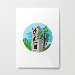 Medieval Bell Tower Circle Retro Metal Print