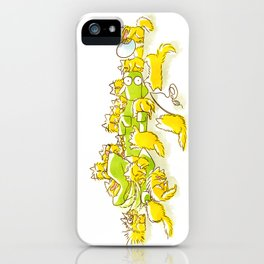 Dog and Full of Cats Funny illustration iPhone Case