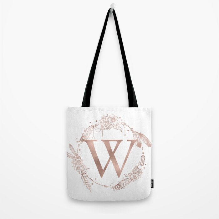 letter w rose gold pink initial monogram tote bag by naturemagick