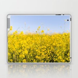 Bright yellow spring flowers pattern blue sky photography Laptop & iPad Skin