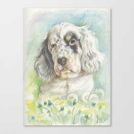 ENGLISH SETTER PUPPY Cute dog portrait on the dandelions meadow Canvas Print