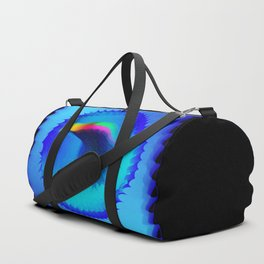 The emblem of an eagle bird head in motion blur. Medal with the image of an eagle on a blue backgrou Duffle Bag