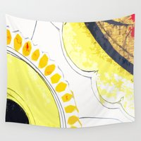 kitchen Wall Tapestries featuring Kitchen Flowers  by Ethna Gillespie