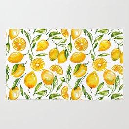 lemon watercolor print Rug
