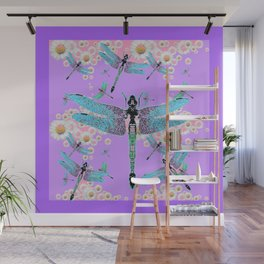 DELICATE BLUE DRAGONFLIES LILAC DAISY FLOWERS ART Wall Mural