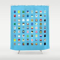 philippines Shower Curtains featuring Minimalism beloved Videogame Characters by Fabian Gonzalez