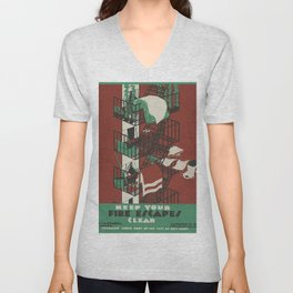 Vintage poster - Keep Your Fire Escapes Clear Unisex V-Neck