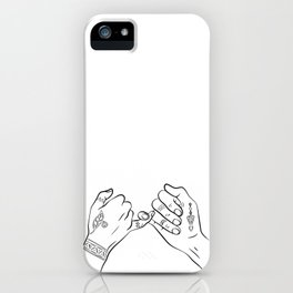 Pinky swear temporary tattooed hands, hands outline tattoo decal sticker, best friends iluustration iPhone Case