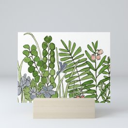 Watercolor Woodland Ferns and Violets Delicate Detailed Nature Art Mini Art Print
