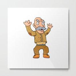 grumpy old man cartoon Metal Print