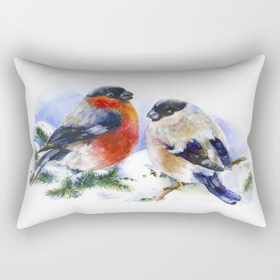 Bullfinches in winter time. Christmas Watercolor Art Rectangular Pillow