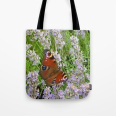 A Peacock Butterfly On A Laveder Bush Tote Bag