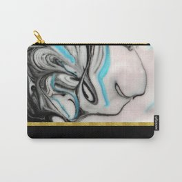 Black, Blue & White Marble with Gold Accent Carry-All Pouch