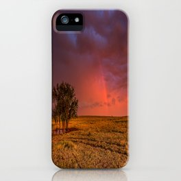 Fire Within - Red Sky and Rainbow Over Lone Tree on Great Plains iPhone Case