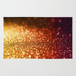 Fire and flames - Red and yellow glitter effect texture Rug