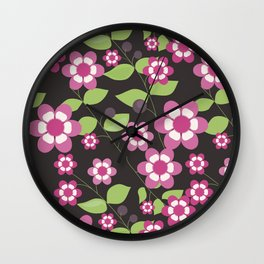Graphic flowers: Britannia Flowers (black, pink and green) Wall Clock