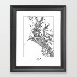 Lima White Map Framed Art Print