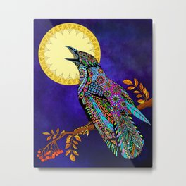Electric Crow Metal Print