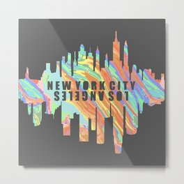 New York City / Los Angeles - Swirl Metal Print