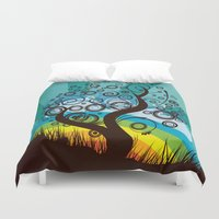 surrealism Duvet Covers featuring Funky Retro Surrealism Tree Graphic  by NextExit