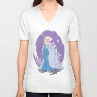 elsa V-neck T-shirts featuring Elsa by LarissaKathryn