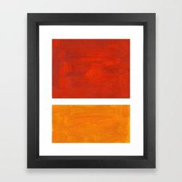 Burnt Orange Yellow Ochre Mid Century Modern Abstract Minimalist Rothko Color Field Squares Framed Art Print