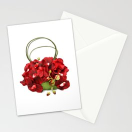 Red Orchid Handbag Stationery Cards