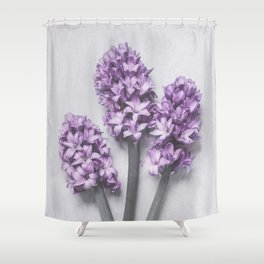 Three Light Purple Hyacinths Shower Curtain