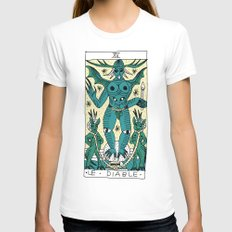 LE DIABLE White Womens Fitted Tee SMALL