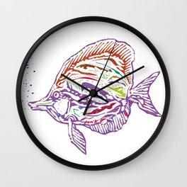 Purple Tropical Fish Wall Clock