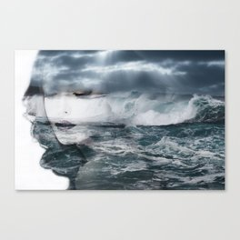 Sea. Double exposure portrait Canvas Print