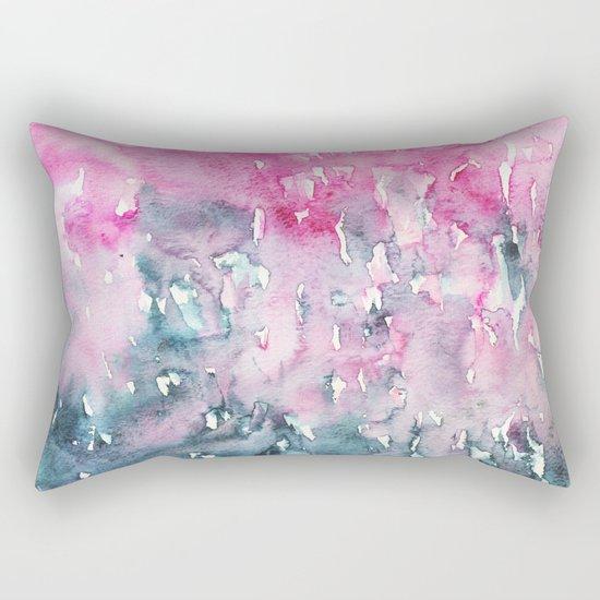 When indigo loves pink || watercolor Rectangular Pillow