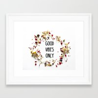 good vibes only Framed Art Prints featuring Good Vibes Only by Indiepeek