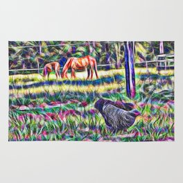horses and hens in a field Rug