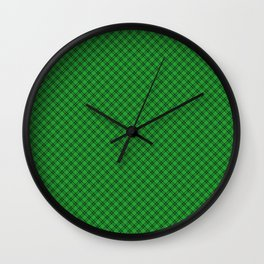 Christmas Holly Green and Argyle Tartan Plaid with Crossed White and Red Lines Wall Clock